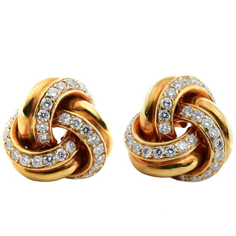 Tiffany & Co. Twist Knot Diamond 18 Karat Yellow Gold Earrings