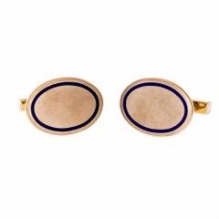 Tiffany & Co. Vintage 1920s Blue Enamel Oval Gold Cufflinks