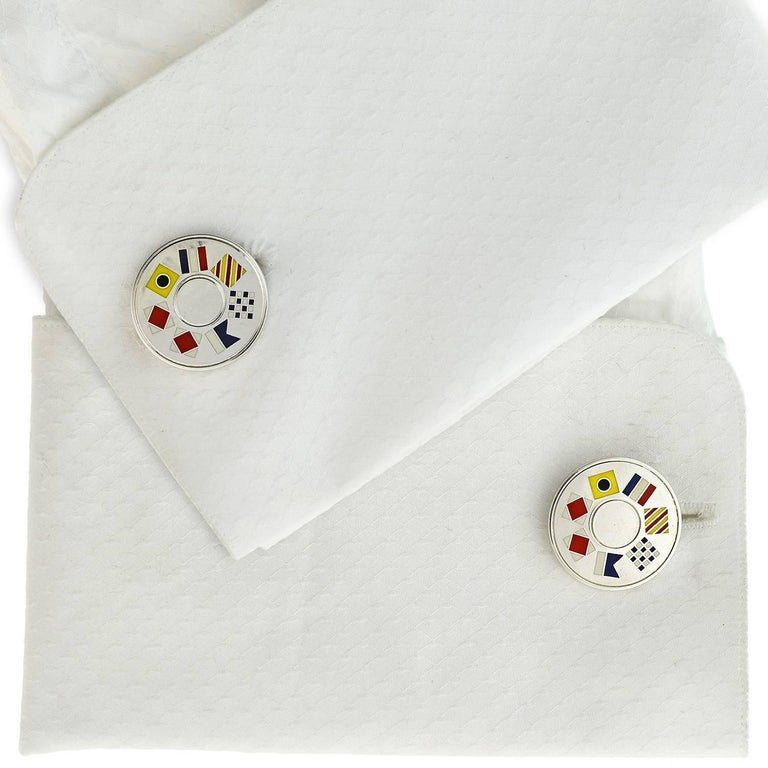"Tiffany & Co. Vintage Enameled Nautical Flag ""Tiffany"" Cufflinks For Sale 2"