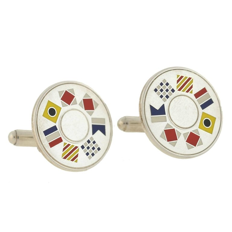 "Tiffany & Co. Vintage Enameled Nautical Flag ""Tiffany"" Cufflinks For Sale"