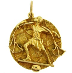 Tiffany & Co. Yellow Gold Libra Zodiac Pendant, 1970s
