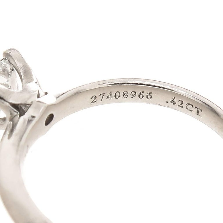 Tiffany & Co. Platinum and Princess Cut Diamond Engagement Ring In New Condition For Sale In Chicago, IL