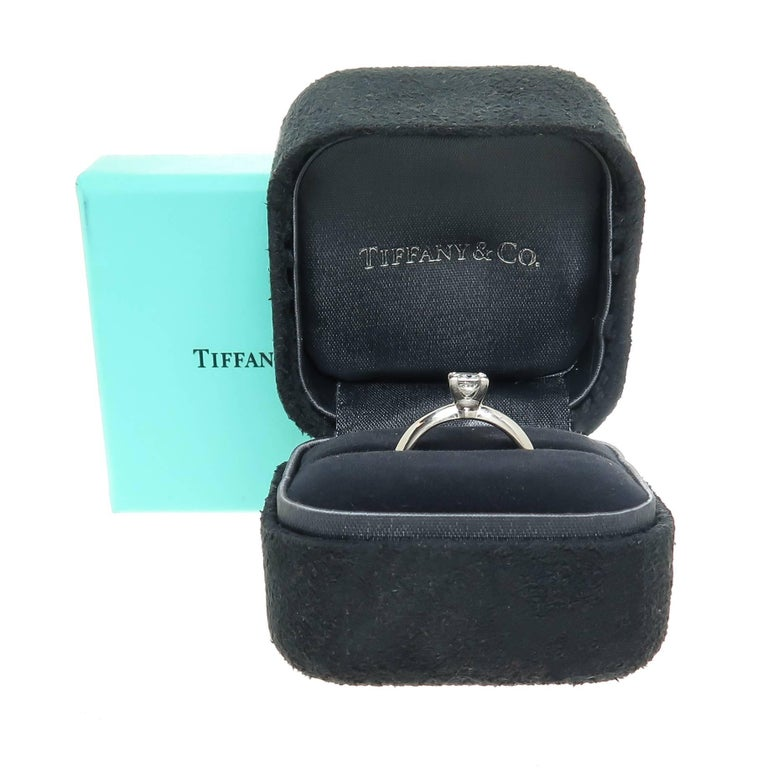 Women's Tiffany & Co. Platinum and Princess Cut Diamond Engagement Ring For Sale
