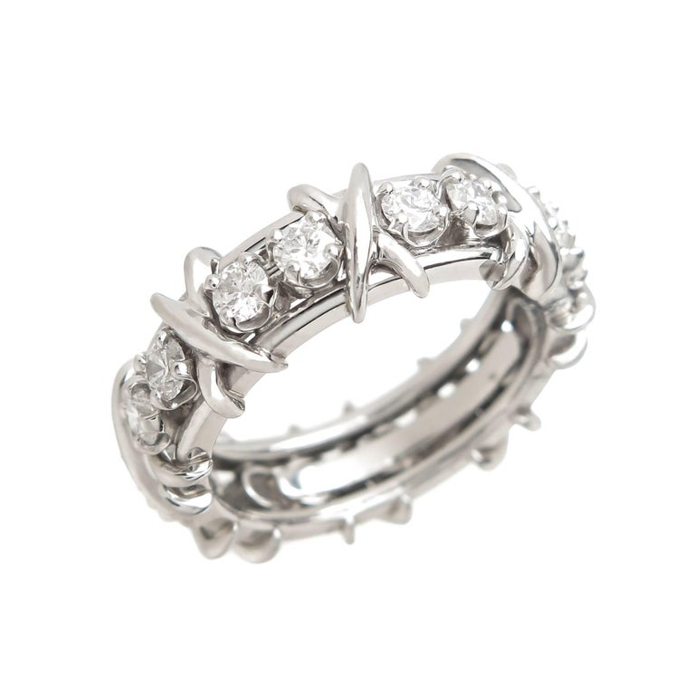 Tiffany & Co. Schlumberger Diamond Platinum X Band Ring