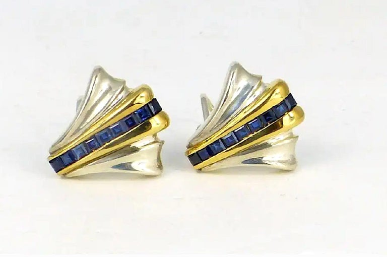 Emerald Cut Tiffany 14 K Gold & Sterling Silver 18 Genuine Sapphire Earrings-Art Deco Style For Sale