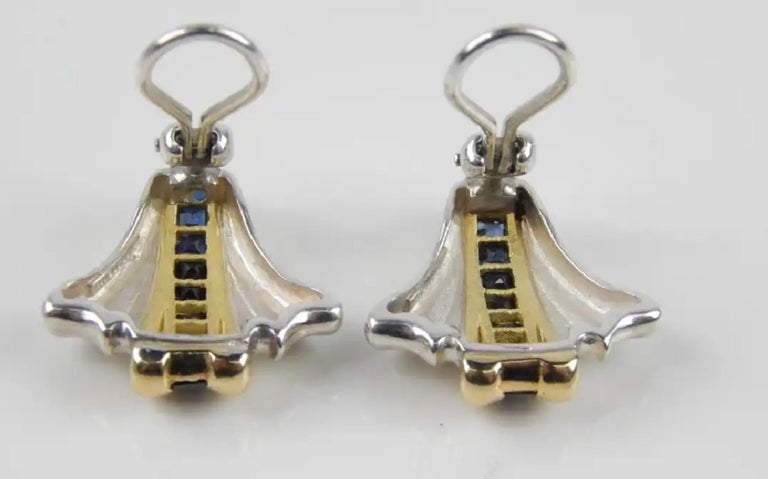 Women's Tiffany 14 K Gold & Sterling Silver 18 Genuine Sapphire Earrings-Art Deco Style For Sale