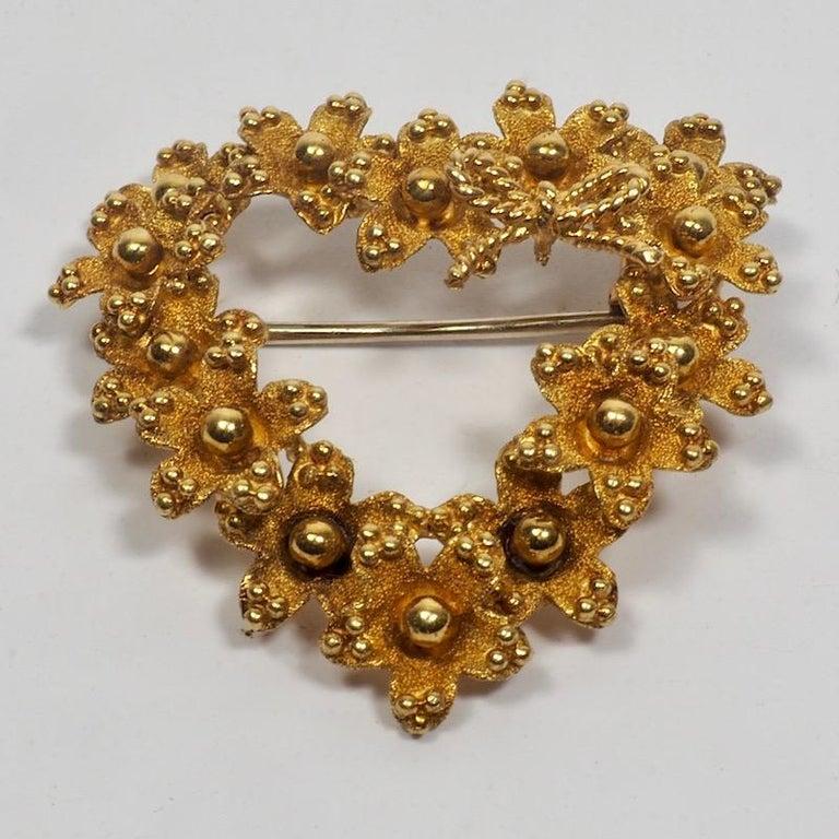 Women's Tiffany & Co. 18 Karat Gold Floral Heart Brooch
