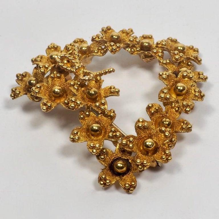 Tiffany & Co. 18 Karat Gold Floral Heart Brooch 1