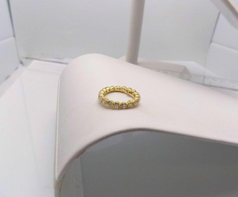 Round Cut Tiffany & Co. 18 Karat Yellow Gold Diamond Eternity Band For Sale