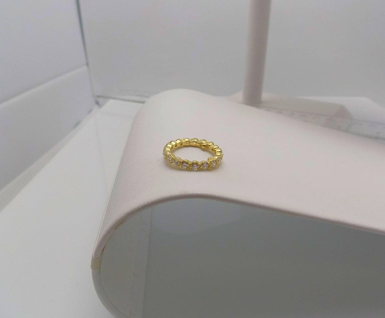 Tiffany & Co. 18 Karat Yellow Gold Diamond Eternity Band In Excellent Condition For Sale In Dallas, TX