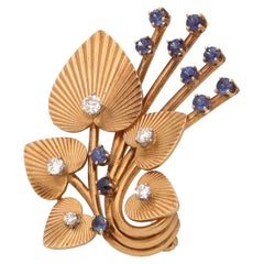 Tiffany 18 Kt. Yellow Gold Diamonds Sapphires Vintage Brooch
