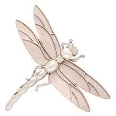 Tiffany & Co. 18 Karat White Gold, Diamond and Cultured Pearl Dragonfly Brooch