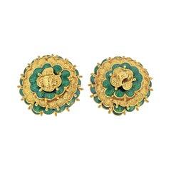 Tiffany 18k Yellow Gold Vintage Flower Earrings