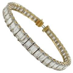 Tiffany 29.00 cts Tennis Bracelet Emerald Cuts Yellow Gold Platinum 25gr