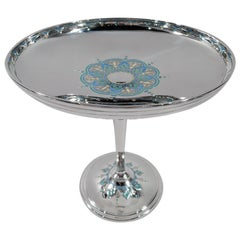 Tiffany American Art Deco Sterling Silver and Enamel Compote