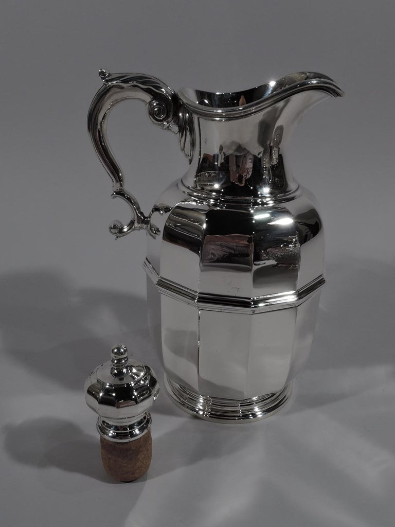 20th Century Tiffany American Art Deco Sterling Silver Water Carafe and Cup on Tray For Sale