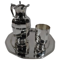 Tiffany American Art Deco Sterling Silver Water Carafe and Cup on Tray