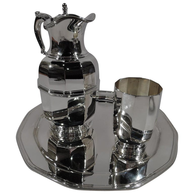 Tiffany American Art Deco Sterling Silver Water Carafe and Cup on Tray For Sale