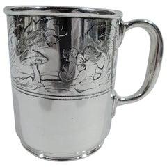 Tiffany American Edwardian Art Nouveau Sterling Silver Water Babies Cup