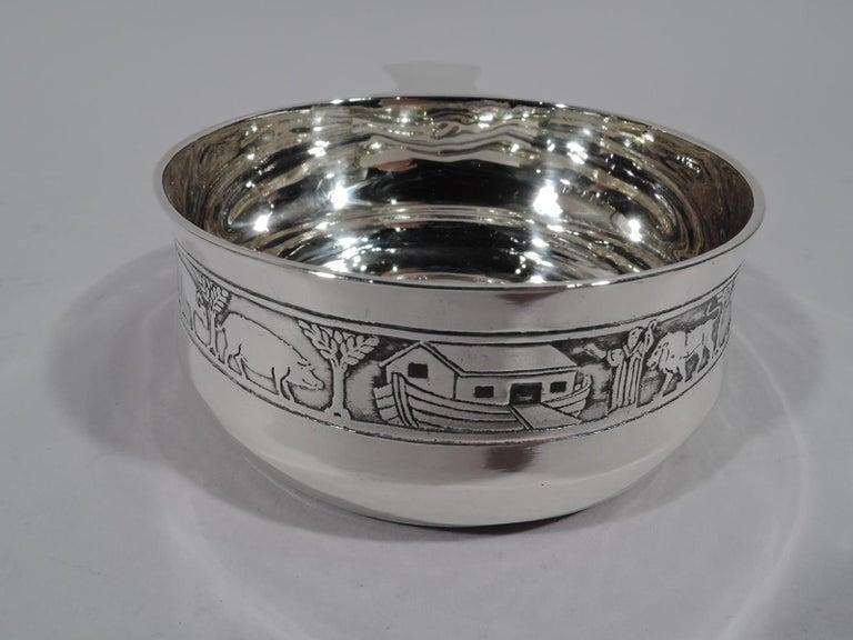 Art Deco Tiffany American Modern Sterling Silver Noah's Ark Porringer For Sale