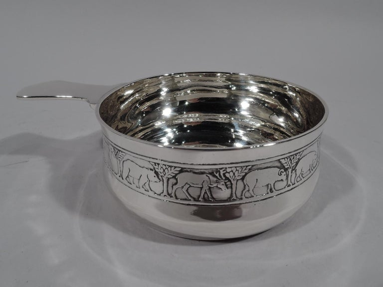 Tiffany American Modern Sterling Silver Noah's Ark Porringer In Excellent Condition For Sale In New York, NY