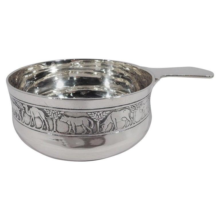 Tiffany American Modern Sterling Silver Noah's Ark Porringer For Sale