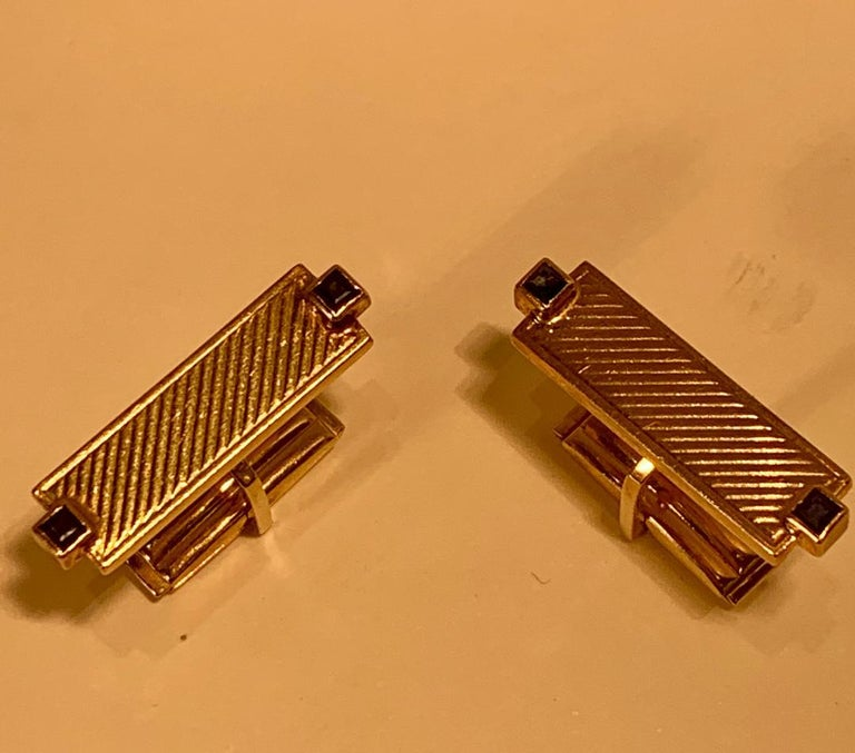 Tiffany & Co. 14 Karat Yellow Gold Art Deco Style Cufflinks with Blue Sapphires In Good Condition For Sale In Tustin, CA