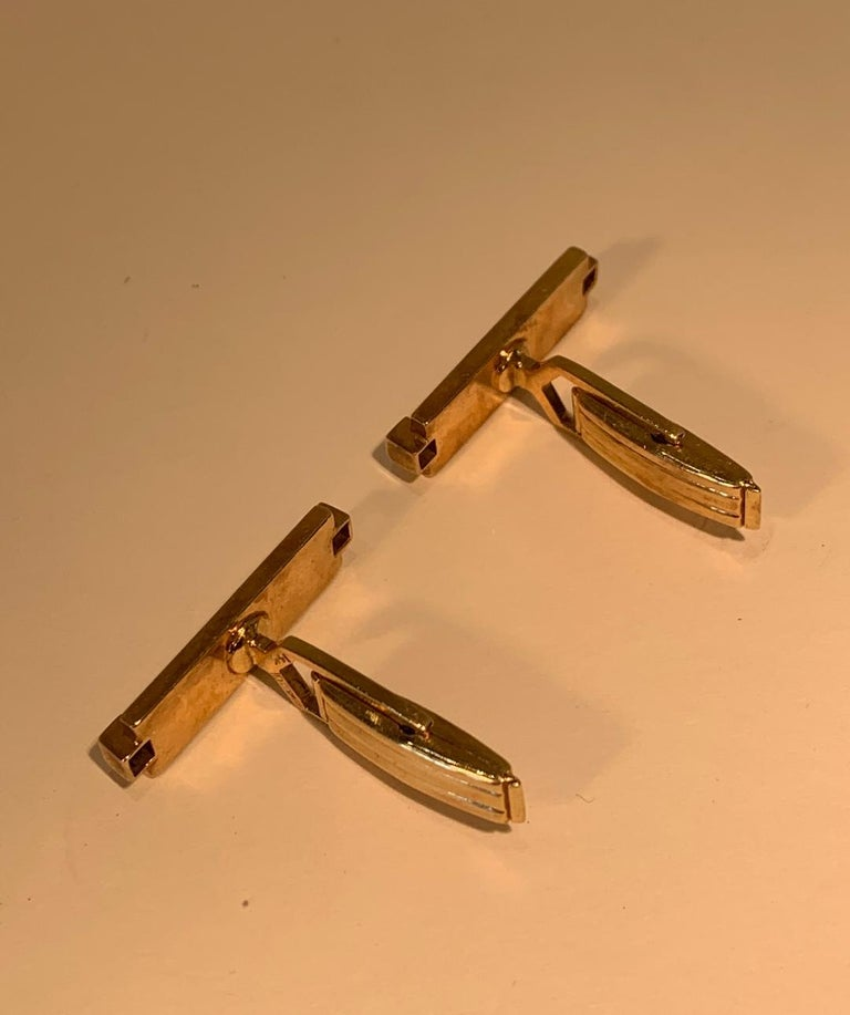 Women's or Men's Tiffany & Co. 14 Karat Yellow Gold Art Deco Style Cufflinks with Blue Sapphires For Sale