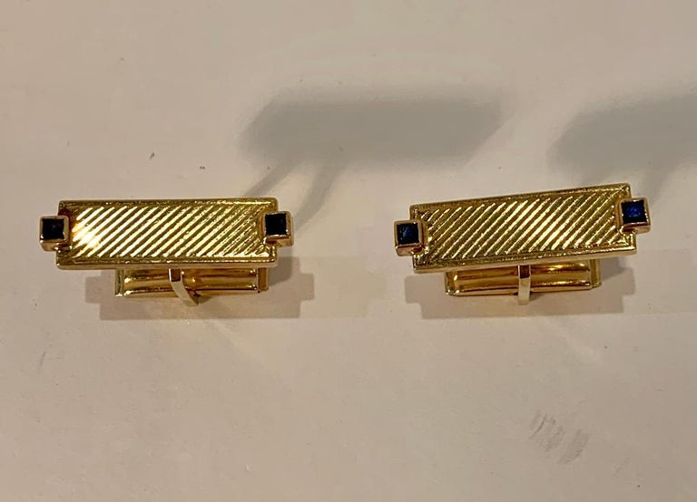 Tiffany & Co. 14 Karat Yellow Gold Art Deco Style Cufflinks with Blue Sapphires For Sale 2