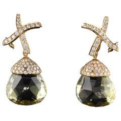 Tiffany and Co. 18 Karat Yellow Gold Diamond and Lemon Quartz Earrings