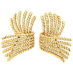 Tiffany and Co. 18 Karat Yellow Gold Schlumberger Earrings