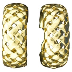 Tiffany and Co. 18 Karat Yellow Gold Woven Style Earrings, 1993