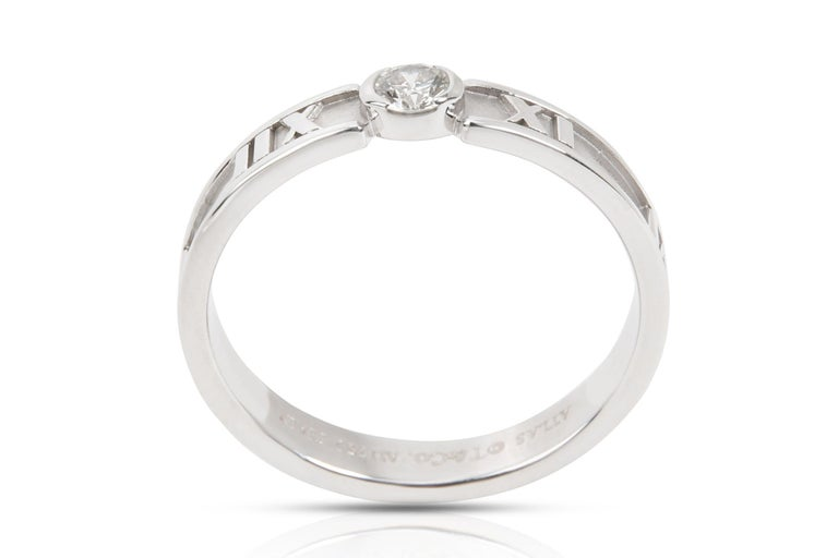 Tiffany & Co. Atlas Diamond Engagement Ring Solitaire Band Stacking White Gold For Sale 1