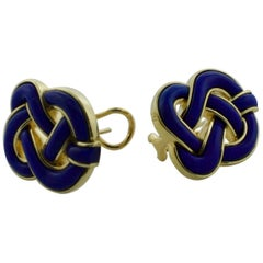 Tiffany and Co. Lapis and 18 Karat Yellow Gold Earrings, circa 1970s