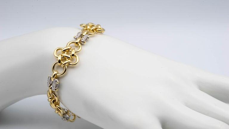 Single Cut Tiffany & Co. Link 18 Karat Gold and Diamond Bracelet For Sale