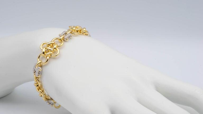 Women's or Men's Tiffany & Co. Link 18 Karat Gold and Diamond Bracelet For Sale