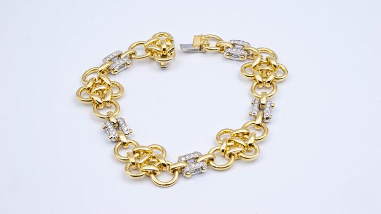 Tiffany & Co. Link 18 Karat Gold and Diamond Bracelet For Sale 1