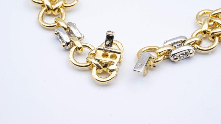 Tiffany & Co. Link 18 Karat Gold and Diamond Bracelet For Sale 2