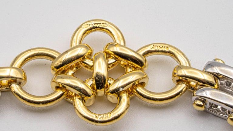 Tiffany & Co. Link 18 Karat Gold and Diamond Bracelet For Sale 3