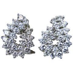 Tiffany and Co. Platinum Diamond Omega Clip Earrings