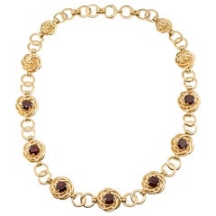 Tiffany and Co. Retro 14 Karat Gold Garnet Necklace