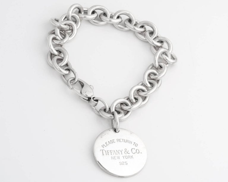 Modern Tiffany Co Return To Round Tag Sterling Silver Bracelet For
