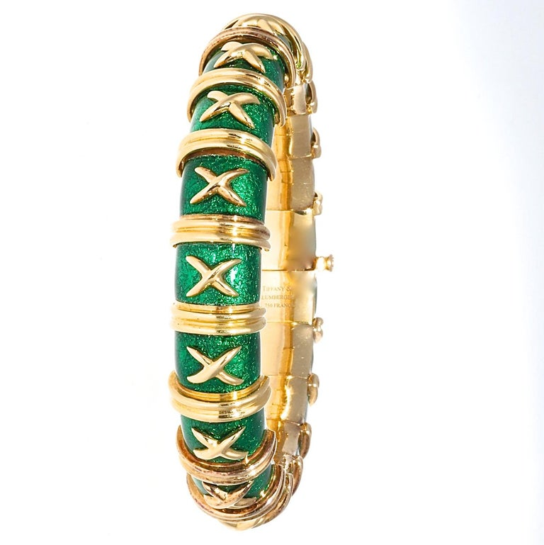Contemporary Tiffany & Co. Schlumberger Croisillon Green Enamel 18 Karat Bracelet For Sale