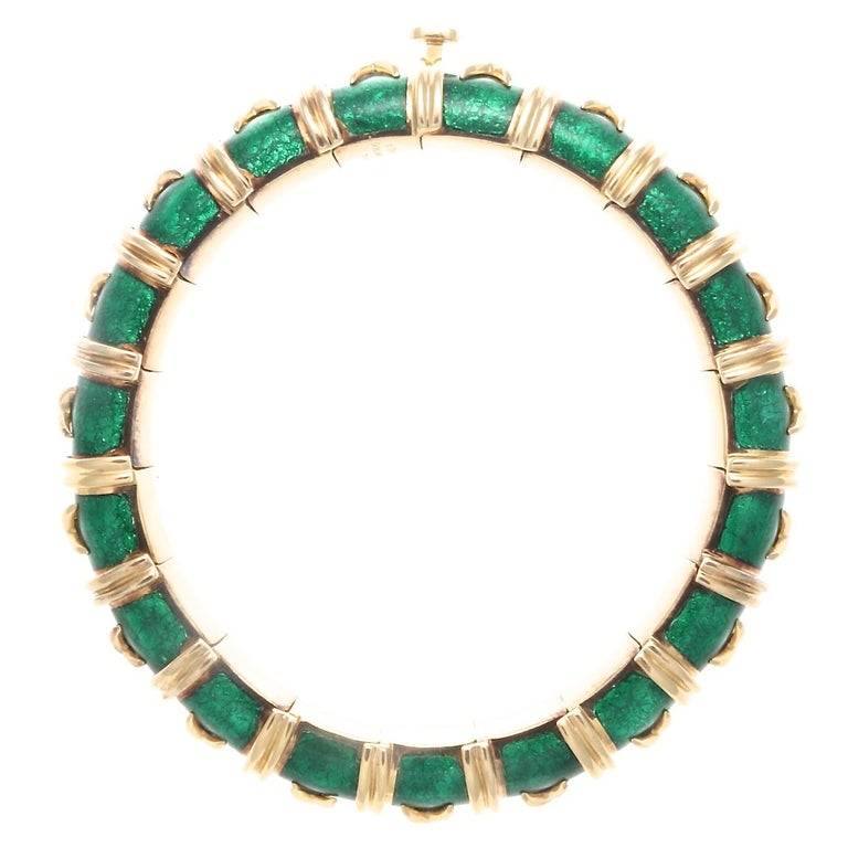 Tiffany & Co. Schlumberger Croisillon Green Enamel 18 Karat Bracelet In Excellent Condition For Sale In Beverly Hills, CA