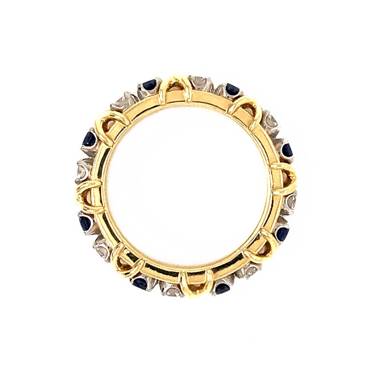 Round Cut Tiffany & Co. Schlumberger Diamond and Sapphire Eternity Ring For Sale
