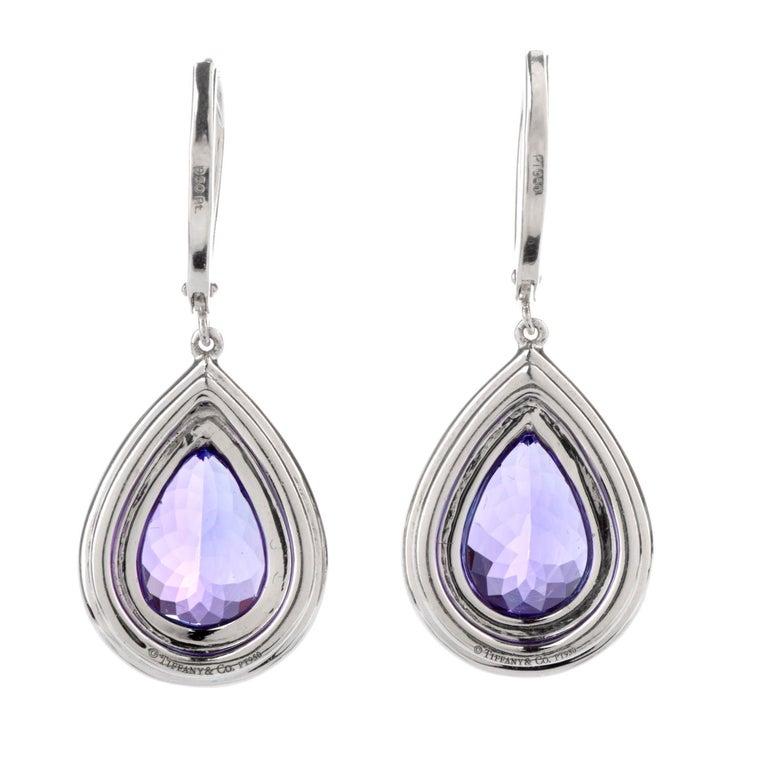 Pear Cut Tiffany & Co. Soleste Tanzanite Earrings in Platinum Dangle Double Halo For Sale