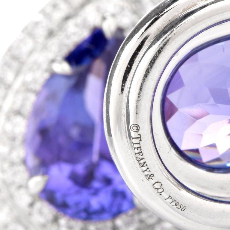 Tiffany & Co. Soleste Tanzanite Earrings in Platinum Dangle Double Halo In Excellent Condition For Sale In Miami, FL