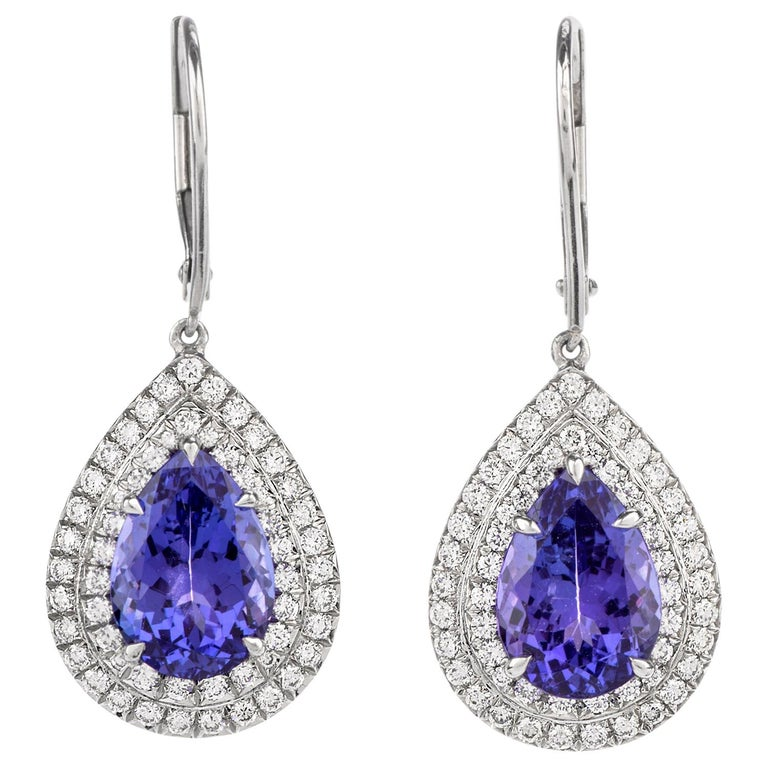 Tiffany & Co. Soleste Tanzanite Earrings in Platinum Dangle Double Halo For Sale