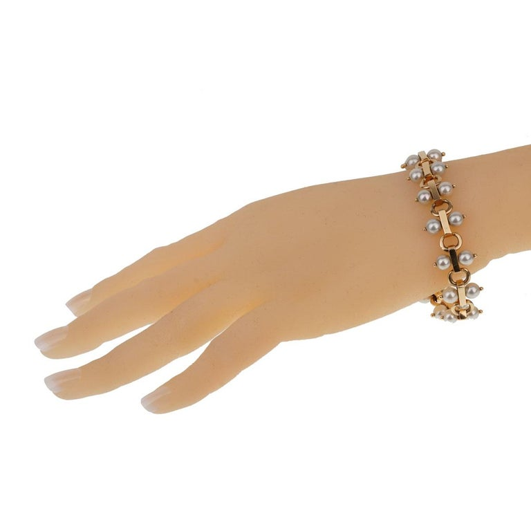 Women's Tiffany & Co. Vintage Pearl Yellow Gold Bracelet For Sale
