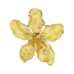 Tiffany and Co. Yellow Gold and Diamond Flower Pin